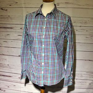 Lands End Multicolor Checked Button-down Shirt